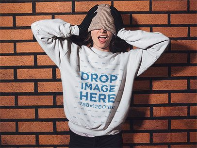 Funny Girl with her Hands on her Head Crewneck Winter Mockup a13242
