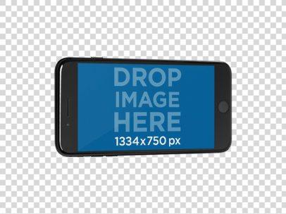 Black iPhone 7 Plus Floating Over A Transparent Background While On Landscape Position Mockup a13831