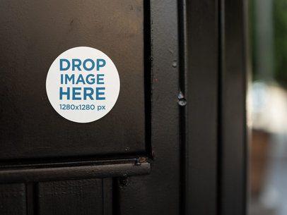 Round Sticker on a Black Door Template a14316