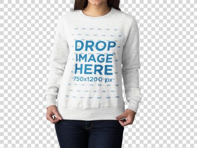 Girl Wearing a Crewneck Sweatshirt Mockup Showing it While Standing Against a Transparent Backdrop a15156